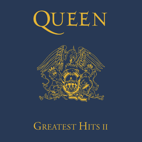 "Cover art from Queen album, ""Greatest Hits II."""